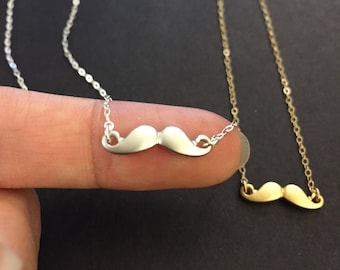 Tiny Mustache pendant necklace/Tiny Mustache necklace/gold mustache,silver mustache necklace/layering necklace/simple necklace/Minimalist
