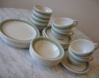 Vintage Grindley Hotel Ware DURALINE Ironstone China1960's Set of20 Diner Ware Cups Saucers Plates Bowls White Seafoam Green Restaurant Ware