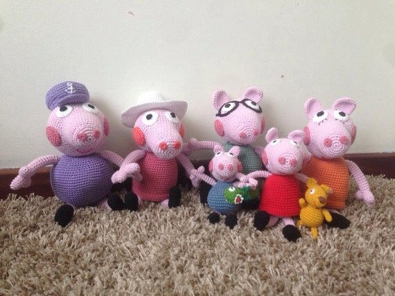 Peppa Pig Family Pattern amigurumi