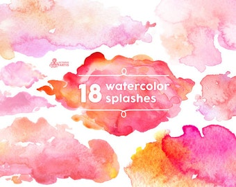 Watercolor Splashes Clipart: 18 Digital files. Hand painted, brush strokes, splodge, pools, splotch, abstract watercolour, background pink
