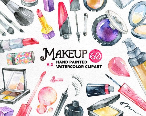 Makeup Watercolor v2. 60 Hand painted clipart diy elements