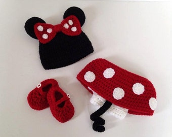 Crocheted Newborn Minnie Mouse Outfit
