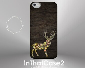 1141// Woodland Floral Deer and Wood Phone Case iPhone 5/5S, 6/6S, 6+/6S+ Samsung Galaxy S5, S6, S6 Edge Plus, S7
