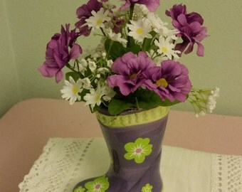 Silk Flower Arrangment, Purple Flower Arrangement, Spring Arrangement, Mother's Day Arrangment,