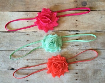 Set of 3 Baby Headbands, Mini Shabby Chic Headbands, Bright Colors, Girls Headbands, Newborn Headbands, Headband Set, Coral, Hot Pink