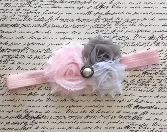 Baby Girl Headband, Baby Headband, Shabby Chic Headband, Light pink, gray, white headband, Newborn Headband, Vintage Inspired Headband