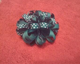 Green Polka Dots Poofy Hair Bow