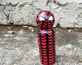 Spiderman ~ Wooden Peg Doll