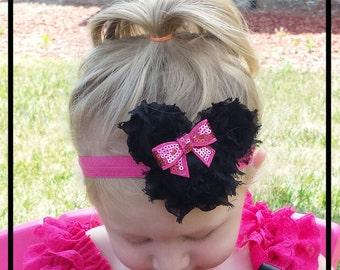 Minnie Mouse headband, Shabby baby headband, Newborn Headband, toddler headband, child headband, Photo prop, Birthday, Minnie Mouse