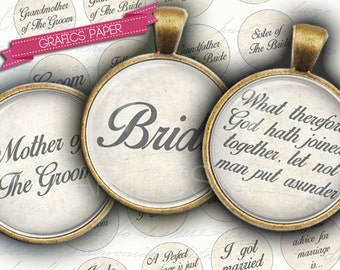 """Digital Collage Sheet 1.5"""", 1.25"""", 30mm, 1 inch Inspirational Words marriage, Bride, Groom circle Images, Images for pendant td186"""