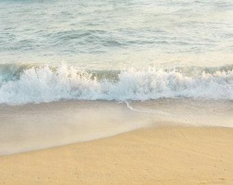 Beach Wall Art, Ocean Photo Art, Beach Waves, Soothing,Beach Photo, California Beach Print, Peaceful, Large Wall Art,Blue Grey White Beige