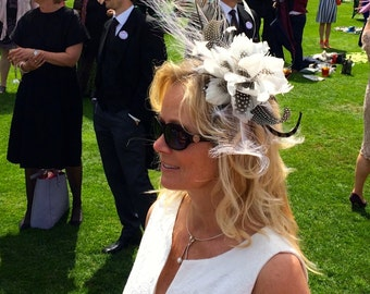 Wedding Fascinator, Feather Fascinator, Bridal Fascinator, Floral Fascinator, Pheasant, Fascinator, Ostrich, Ascot, Races, Black and White,
