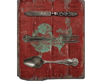 Country Decor Red Knife, Fork, Spoon Sign