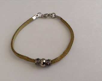 Cord bracelet, sage green suede with silver beads (item #229)
