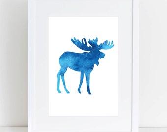 Blue Watercolor Print, Moose Print, Moose, Moose Print, Digital Prints, Moose Wall Print, Printable Moose, Download, Moose Silhouette