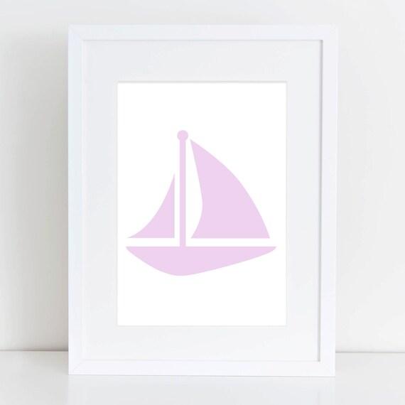 Sailboat Wall Print, Lavender, Sail Boat Wall Print, Nautical Decor, Coastal Prints, Purple Print, Nautical Print, Printable Wall Art