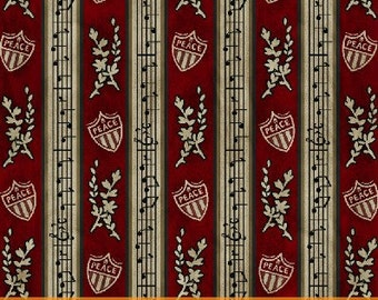 The Clara Barton Collection by The Clara Barton Birthplace Museum for Windham Fabrics  #30032-1  Red Stripe Music Notes