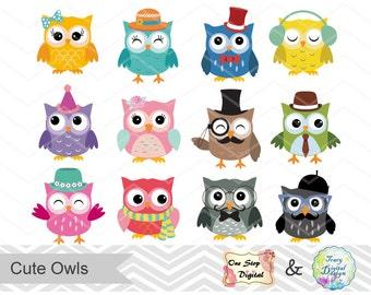 Digital Owl Clip Art Cute Owl Clipart, Pink Owl Blue Owl Hipster Owl Orange Owl Yellow Owl Green Owl Black Owl, Digital Owl Scrapbook 0154