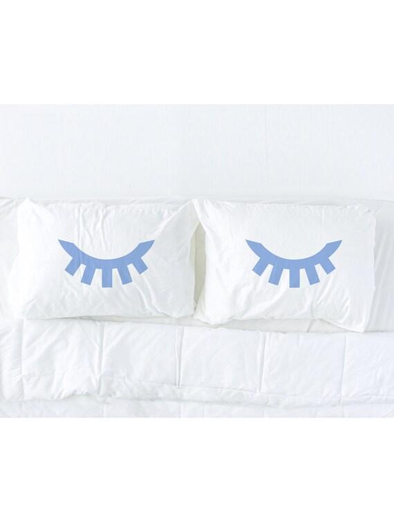 Sleeping Eyes pillowcase set in Periwinkle Blue, eyelash pillow, blue eyes, wink, wedding gift, dorm bedding, couples gift, Pillow Talk