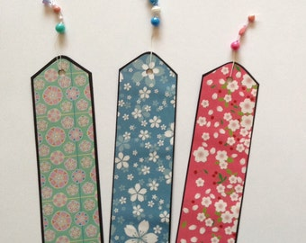 Handmade Floral bookmarks with beads, Gift idea, cherry blossom, blue, green, pink