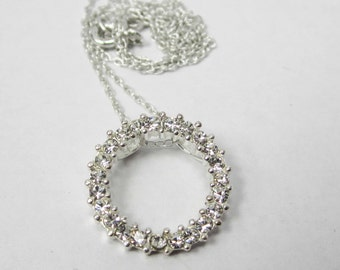 STERLING silver circle pendant with crystals