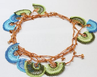 Oya Crochet necklace, Beaded jewelry, Lariat necklace, Green Blue necklace, Valentine's gift