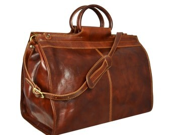 Leather Travel Bag, Duffle Bag, Duffel Bag, Travel Bag, Weekend Bag, Overnight Bag, Genuine Leather Bag, Brown Leather Bag - Robinson Crusoe
