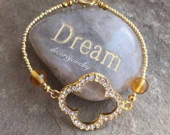 "Gold Rhinestone Clover Quatrefoil Bracelet - Amber Beads - 7"" Bracelet - Gold Clover Bracelet - Amber Bracelet - Clover Bracelet"