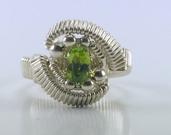 Wire Wrapped Peridot Ring (Size 7.5)