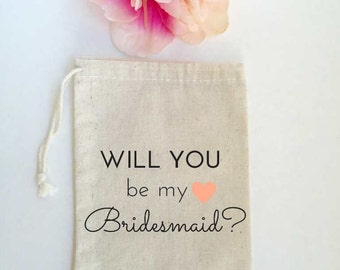 Will You Be My Bridesmaid Maid of Honor Gift Favor Bags