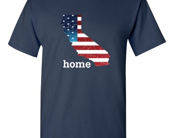 Patriotic American Flag California State Fourth of July Men's T-Shirt