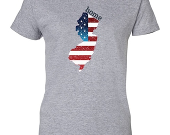 Patriotic American Flag New Jersey State Fourth of July Womens T-Shirt