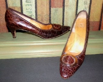 Womens Vintage Pandessa Crocodile Shoes Heels Pumps Sz 7.5 N