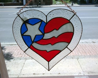 American Flag Heart Shaped Panel
