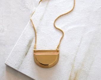 Gold Half Circle Pendant Necklace