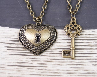 2 bronze lock and key necklaces, 2 best friend necklace, key to my heart necklace, friendship necklaces, for couple, his and hers jewelry