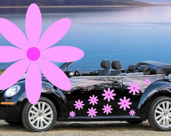 32, pink daisy flower car decals,stickers in three sizes