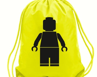 Lego man yellow gym bag,pe bag,school bag,water resistant drawstring bag.