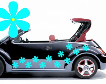 28 Sky blue hippy flower car decals,stickers, graphics 100mm diameter.