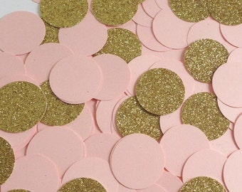 Wedding Party Confetti Peach and Gold Glitter discs