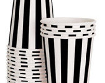 Paper Cups | Black and White Party Cups | Black and White Stripe Cups | Party Cups | 12 Per Pack | Cups | Striped Cups