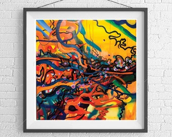 COUNTER TRANSFERENCE Abstract modern art print from original, orange and yellow