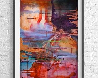 VOLCANIC BEAUTY Abstract modern art print from original mixed media.