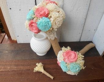 sola bouquet, wedding bouquet, mint and coral bouquet, bridal bouquet, bridesmaid bouquet