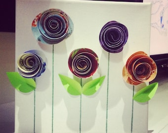 Paper Art 3D, papers rolled roses, small roses garden