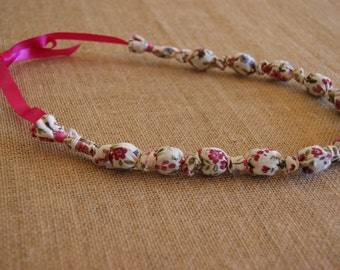 Handmade Fabric Covered Wooden Beaded Necklace