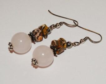 "Sterling Vintage Genuine stone / Pink Quartz Stone 1.5"" L. Earrings"