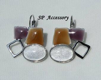 White Jewelry, Sparkling White Oval Brown Purple Earrings, Stainless Steel Earrings, jewelry earrings