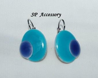 Blue Earrings, blue jewelry, stainless steel earrings, jewelry earrings