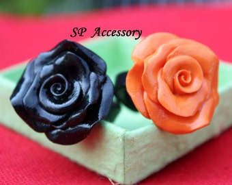 valentine gift, rose ring, Ring Orange Rose, Ring Black Rose, ring clay, jewelry ring, flower ring, orange rose, black rose, clay ring
